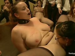 slaves cook dinner then get fucked on the table and and orgy ensues...
