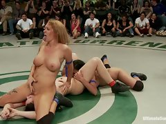 Rain Degrey witches from ref to wrestler and saves the June Tag Team...
