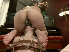 Kinky lesbian piano teacher punishes and ass fucks her student....