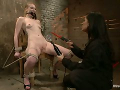 Adorable Ela Darling gets tied up in predicament bondage and made to...