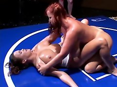 Match number-one for the Busty Ladies of Oil Wrestling is about to...