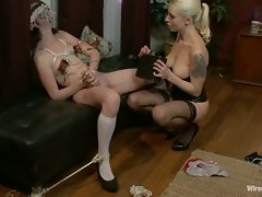 A little brat is taught a lesson by her maid with bondage,...