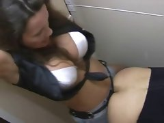 Hot chick fucking liucky guy with a strap on