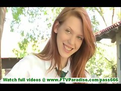 Lacie incredibly sexy redhead schoolgirl flashing tits and flashing pussy and toying pussy outdoors