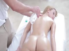 Hot glamour babe given nude massage