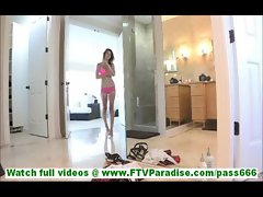 Karina skinny young blonde girl with small tits undressing and posing naked in hallway