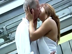 Sexy young babe strips for this old guy and wants him