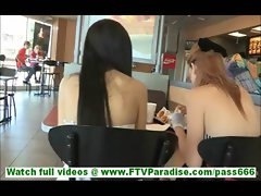 Tamara and Lacie hot lesbian girlfriends  wearing skirts and flashing tits in public and flashing pu