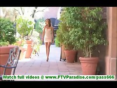 Riley mesmerizing hot brunette with no panties toying pussy with dildo naked outdoors on the floor