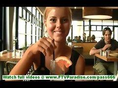 Jessi cute innocent blonde teen having dinner in restaurant