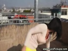 Hot teen shows her upskirt then lets guy feel her tits
