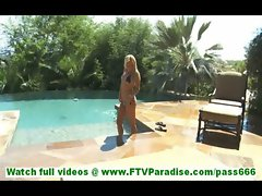 Ashton incredibly sexy young blonde taking a bath naked in pool outdoors and toying pussy