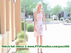 Lindy hot blonde in heels and dress posing outdoors with no panties and toying pussy