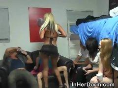 Blonde Girl Strip Teasing At Dorm Room Party