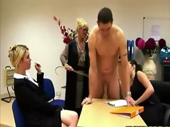 Naked guy gets taught a sexy lesson by these horny girls