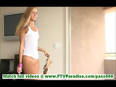 Jessi stunning young blonde toying pussy with dildo naked on the floor