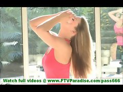 Carolyn cute little horny blonde exercising and flashing ass and pussy toying pussy outdoors