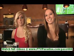 Adrianna and blonde lesbian girlfriends in restaurant touching each other on casting