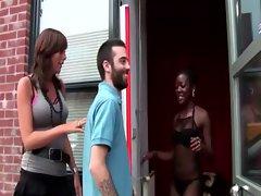 Naughty ebony whore eats dick
