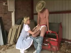 Farmer girls get to undress the worker and play with his tool