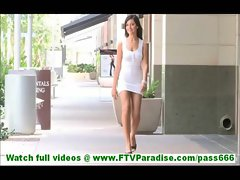Annalisa lovely young brunette undressing and posing naked and toying pussy naked in public