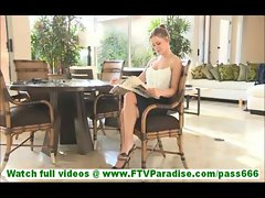 Carolyn hot blonde slut masturbating with cucumber indoors