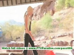 Lindy cute little sporty blonde exercising and flashing tits and flashing ass and pussy toying pussy