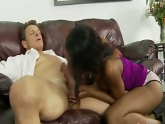 Choco stepdaughter fucks white stepdad