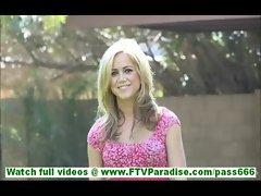 Ashley hot blonde slut masturbating with cucumber and banana outdoors