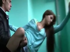 Dirty girl gets fucked in a stairwell for cash from two guys
