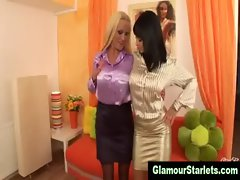 Sexy clothed european lesbians