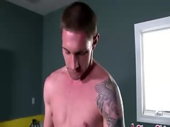 Hot jock gets blowjob while working out in gym