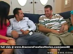 Two horny slut at home on the couch with their boyfriends