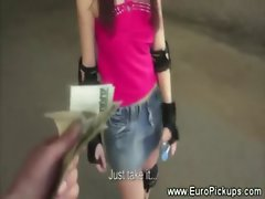 Euro babe on skates flashes for cash