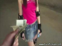 Euro babe on skates flashes for cash