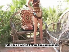 Independent Teen brunette girl toying pussy outdoor