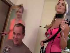 Domina blonds strip off guys clothes so they can fuck