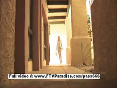 Lovely Amateur sexy naked blonde posing outdoor