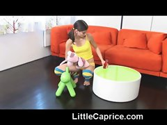 Caprice shows off her tight young body &amp_ rides a red dildo