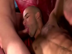 Gay jock loves two hard dicks in his face for him to suck