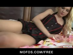 Stunning blonde teen Franziska Facella plays with her toys in bed