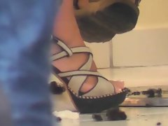 Voyeur dark haired in high heels (Candid street) 2