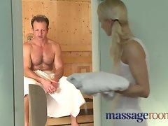 Massage Rooms Bony blond has little twat filled in steamy