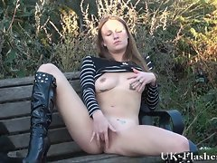 Luscious Amateur Randy Masturbating in a public park