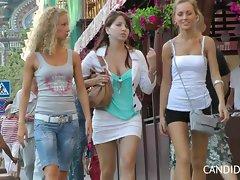 four slutty chicks in summer dress