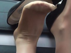 My jimmy choo high heels & nylon covered feet : upskirt