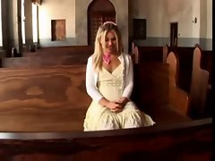 light-haired raunchy teen grinded and creampie in a church