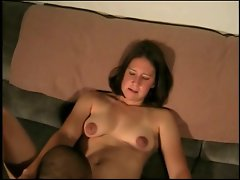 Shaven Sara Gets Cum On Her Chin And Lil' Brown Nips
