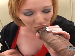 Stunning red head licks and bangs 2 huge monster pricks