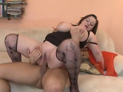 Dark haired BBW-Milf with Huge Hooters doing 19yo Fellow